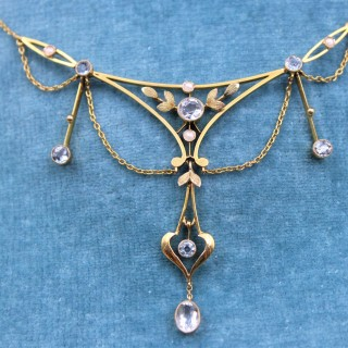 An exquisite 15ct Yellow Gold Edwardian Aquamarine & Pearl