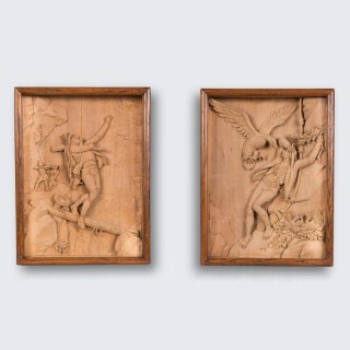 Pair of Carved Limewood Shadow Boxes