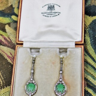 An exceptional pair of Natural Jadeite (untreated), Diamonds & Pearl Earrings set in 18ct Yellow Gold & Platinum, Circa 1920-1930.