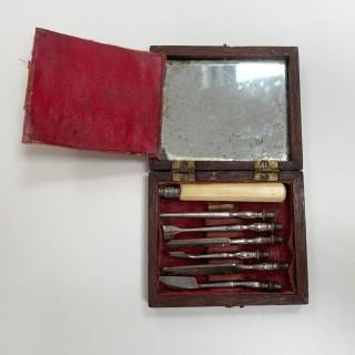 Georgian Mahogany Cased Set of Dental Scalers