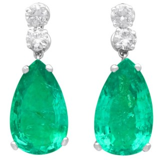 15.51ct Colombian Emerald and 1.12ct Diamond, Platinum Drop Earrings - Vintage Circa 1950