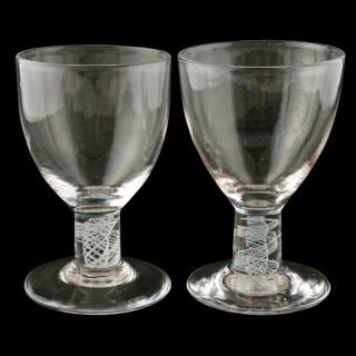 Pair of Georgian Opaque Twist Stem Rummers