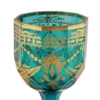 Pair of Georgian Gilded Green Wine Glasses
