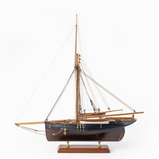A shipyard model of a gaff-rigged Newhaven Smack