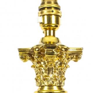 Antique Pair Regency Revival Corinthian Column Table Lamps Late 19th C
