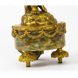Antique Pair French Ormolu Cherubs Table Lamps 19th C