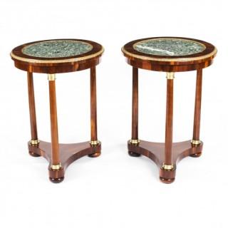 Antique Pair Louis XVI Revival Occasional Tables Gueridons 19th Century