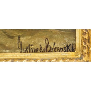 Antique Oil on Canvas Seascape Painting Gustave De Bréanski 19th Century