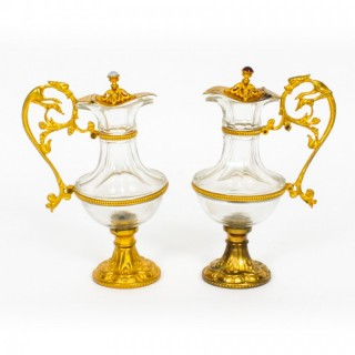 Antique Pair of French Ormolu & Glass Ewers 19th Century