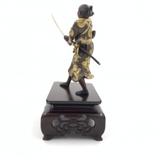 JAPANESE BRONZE SAMURAI FIGURE, MEIJI PERIOD