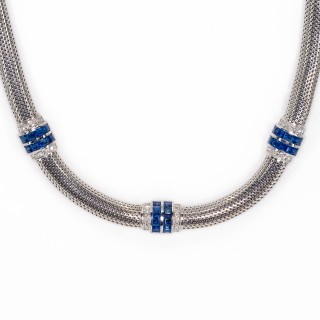 Platinum necklace with sections of sapphire and diamonds
