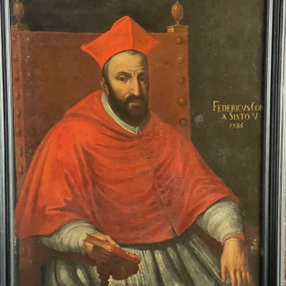 Oil on canvas of a cardinal named and dated 1586