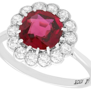 1.70ct Thai Ruby and 0.70ct Diamond, 18ct White Gold Cluster Ring - Vintage Circa 1950
