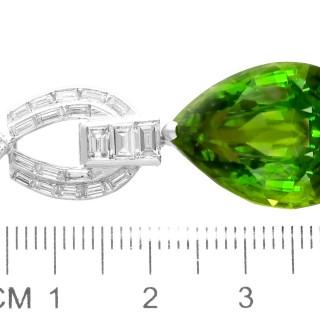 23.20ct Peridot and 1.38ct Diamond, Platinum Pendant - Vintage Circa 1945