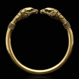French Antique Gold Bangle With Double Eagle Heads circa 1890
