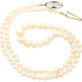 Single Strand Natural Pearl Necklace with 1.02ct Diamond Set Clasp - Antique Circa 1890