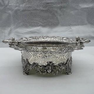 Antique George II Sterling Silver Cake Basket London 1736 Lewis Pantin II