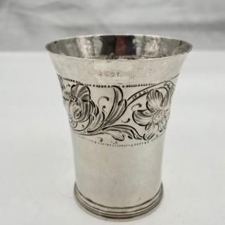 17th Century Antique William & Mary Silver Beaker London 1691 John Duck