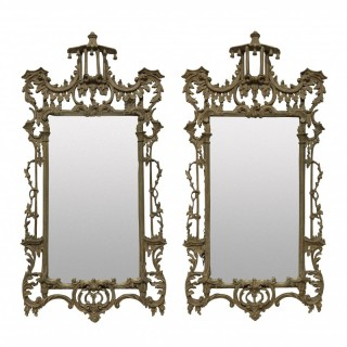 A PAIR OF CHIPPENDALE REVIVAL MIRRORS
