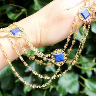 5.55ct Lapis Lazuli and 18ct Yellow Gold Necklace - Antique Victorian (Circa 1870)