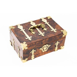 Antique Queen Anne Figured Walnut & Cut Brass Box Casket 18th Century