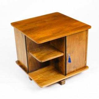 Antique Swedish Art Deco Birch Wood Revolving Bookcase C1920