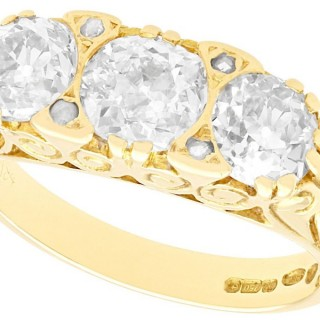 2.01ct Diamond and 18ct Yellow Gold Trilogy Ring - Antique and Contemporary