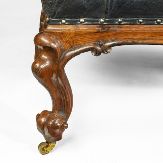 A long Victorian rosewood stool