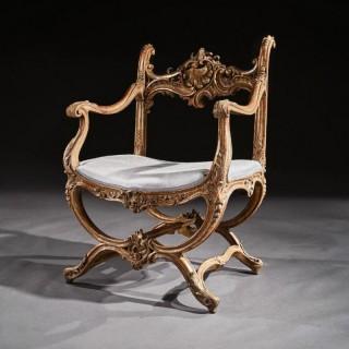 Fine 19th Century Italian Venetian Carved Giltwood Armchair