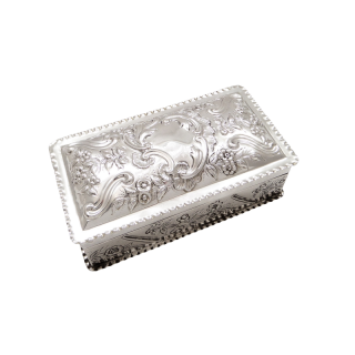 Antique Victorian Sterling Silver Trinket Box 1889