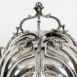 Antique Silver Plate Triple Shell Shaped Biscuit Box by Fenton Brothers c.1870
