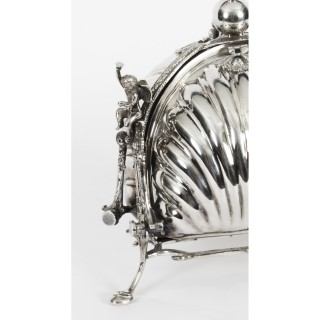 Antique Silver Plate Triple Shell Shaped Sweets Biscuit Box Mappin & Webb 19th C