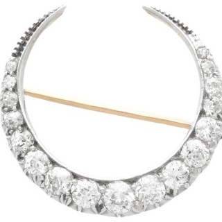 3.41ct Diamond and 9ct Yellow Gold Crescent Brooch - Antique Circa 1890