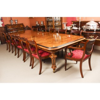Antique Pollard Oak Victorian Extending Dining Table 19th C & 12 Swagback Chairs