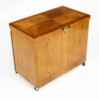 Antique Swedish Art Deco Birch Wood Surprise Bar Dry Bar C1920