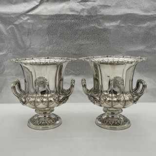 Antique George IV Pair Old Sheffield Wine Coolers Circa 1830 J Watsons & Sons