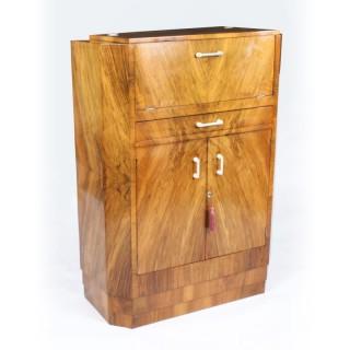 Antique Art Deco Burr Walnut Cocktail Cabinet Dry Bar c.1920