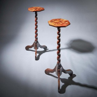 Pair of 17th Century Kingwood Charles II Parquetry Torchieres, Circa 1660