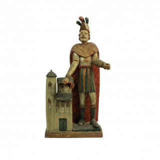 A CARVED & POLYCHROME STATUE OF ST FLORIAN