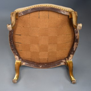 Large 19thc French carved giltwood stool with upholstered shaped seat