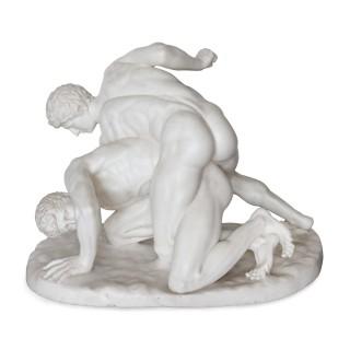 Antique Italian marble sculpture after Roman original of the Wrestlers