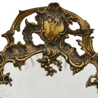 Rococo style rocaille-shaped gilt bronze mirror