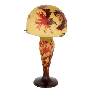 French Art Nouveau period carved and etched glass lamp by Gallé
