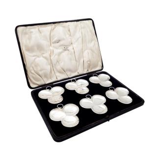 Set of 6 Antique Sterling Silver 'Clover' Dishes in Presentation Case 1912
