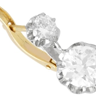 2.64ct Diamond and 18ct Yellow Gold Drop Earrings - Antique Circa 1920