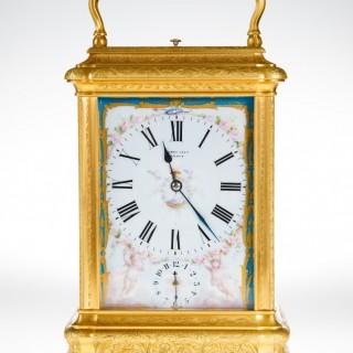 DROCOURT À PARIS, N° 17001. A RARE GIANT GORGE CASED CARRIAGE CLOCK