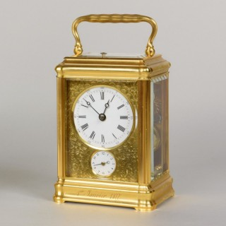 DROCOURT À PARIS, N° 10757. A FINE GORGE CASED HOUR GOING STRIKING AND REPEATING CARRIAGE CLOCK