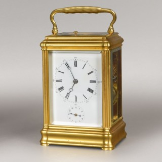 DROCOURT N° 12724. A FRENCH GRANDE-SONNERIE CARRIAGE CLOCK.