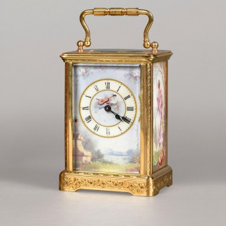 RICHARD & C°, NUMBER 157. A BEAUTIFUL FRENCH SMALL PORCELAIN PANELLED CARRIAGE TIMEPIECE