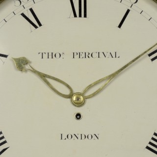 THOS. PERCIVAL. AN EARLY 19TH CENTURY DROP DIAL WALL CLOCK.